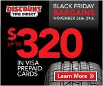 Discount Tire Black Friday Sale: Up to $320 Visa Prepaid Card by Mail Deals